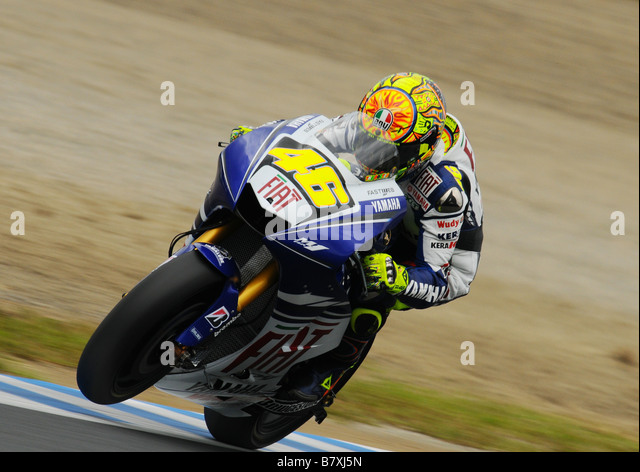 Valentino Rossi Fiat Yamaha SEPTEMBER 28 2008 Motor Valentino Rossi of Italy and the Fiat Yamaha team rides in action - Stock Image