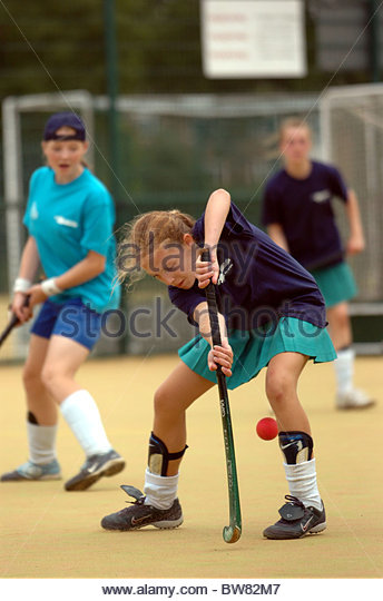 A hockey game at a School Competition - Stock Image