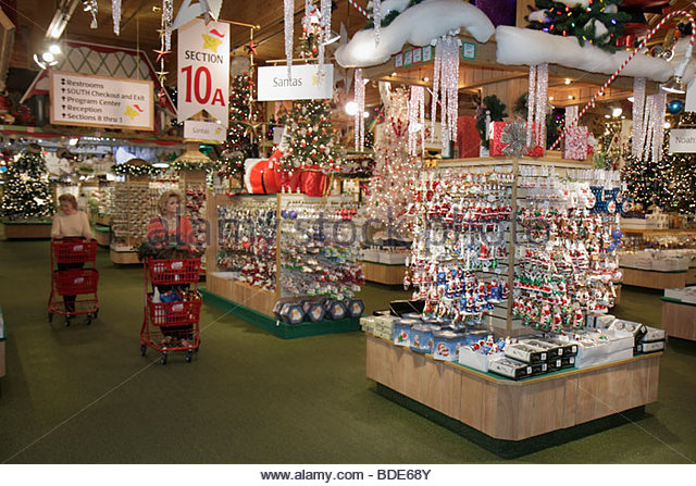Michigan Frankenmuth German Bavarian ethnic community Bronner's Christmas Wonderland shopping display specialty - Stock Image