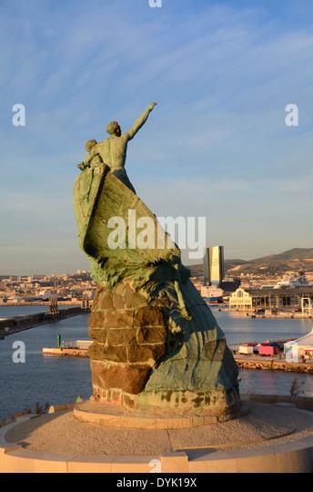 Sailors Monument in Pharo Park & Gardens Overlooking the Port & Docks Marseille France - Stock Image