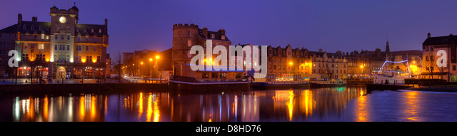 Leith Shore panorama at dusk, Edinburgh Scotland @HotpixUK - Stock Image
