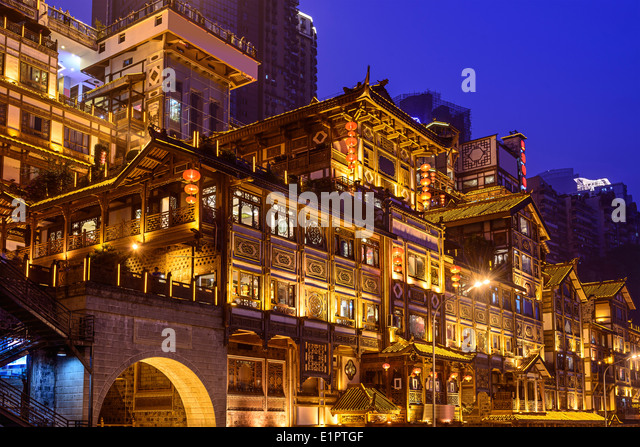Chongqing, China at Hongyadong hillside buildings. - Stock-Bilder