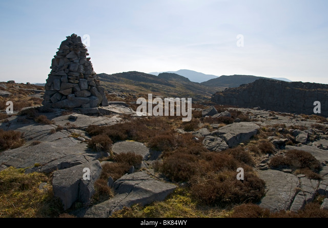 A cairn on the Rhinog Mountains, Snowdonia, North Wales, UK - Stock Image