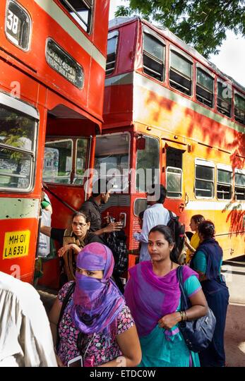 Mumbai India Indian Asian Fort Mumbai Chhatrapati Shivaji Railway Station Terminus Area BEST bus double decker stop - Stock Image