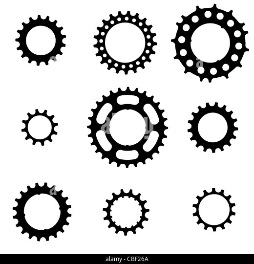 bicycle freewheel cogs (sprockets, gears) of various types and sizes - Stock Image