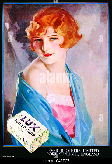 Lux Toilet Soap, 1932 advert for the Lever Bros soap with a lovely painting of a beautiful girl - Stock Image