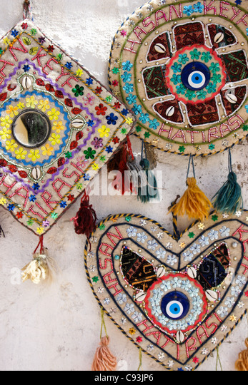 Beaded handicrafts for sale in Hasankeyf, Eastern Anatolia, Turkey - Stock Image