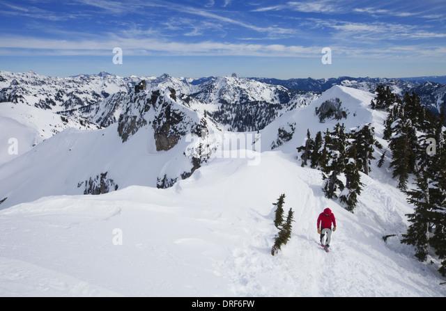 Snoqualmie Peak Washington state USA. climber summit Snoqualmie Peak Cascades Washington - Stock Image