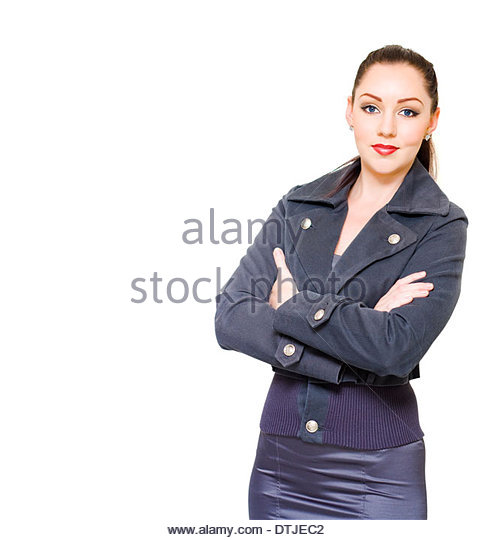 Young Confident Manager Boss Or Female Business Executive Smiling On White Copy Space With Arms Folded In A Superintendent - Stock Image