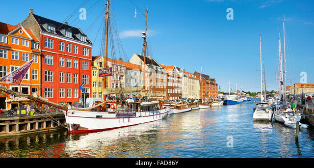 Copenhagen, Denmark - the ship moored in Nyhavn Canal - Stock Image