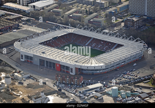 Aerial photograph of Southampton Football Club - Stock-Bilder