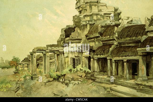 Courmaille, Angkor, watercolor - Stock-Bilder