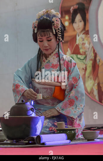 Geisha performs a tea ceremony at the Oriental Festival in Turin - Stock Image