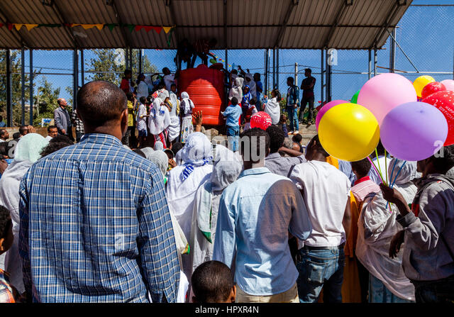 Holy Water Is Thrown Over Ethiopian Christians During The Timkat (Epiphany) Celebrations In Addis Ababa, Ethiopia - Stock Image