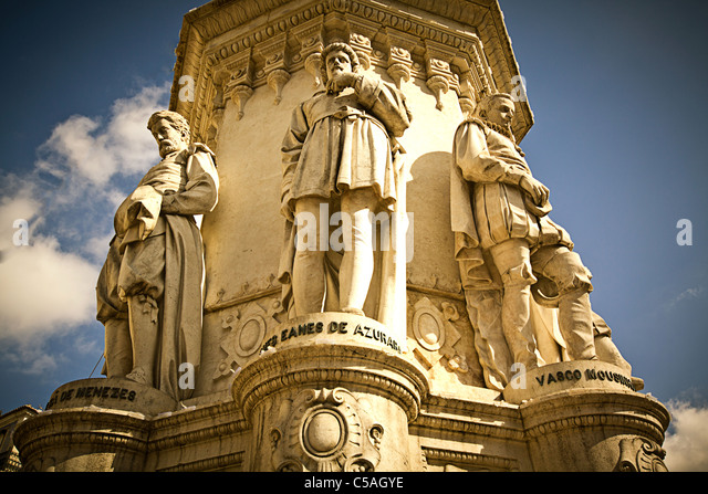 Epic Poets Statue in Praca de Camoes, Lisbon, Portugal - Stock Image