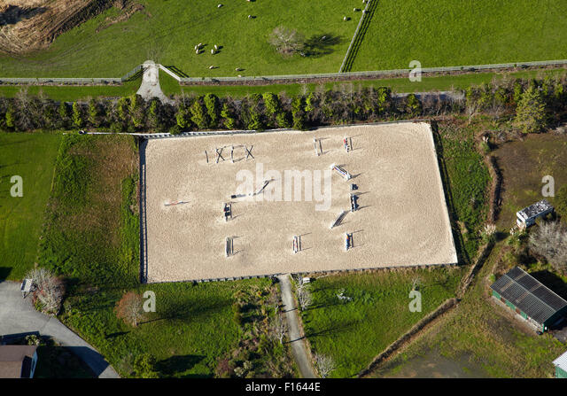 Show jumping arena near Coatesville, North Auckland, North Island, New Zealand aerial - Stock Image