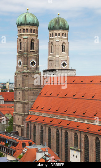 Famous Cathedral of Saint Mary - Liebfrauenkirche in Munchen, capital of Bavaria, Germany. - Stock-Bilder
