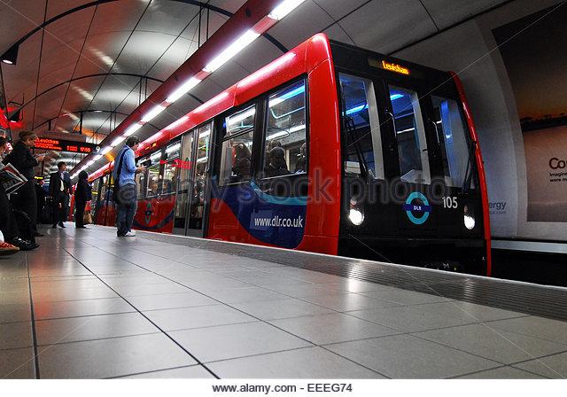 DLR train at the platform at Bank station - Stock Image