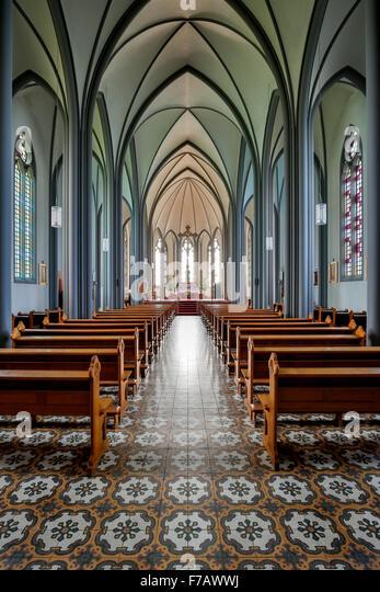 Interior, Roman Catholic Cathedral of Christ the King, Reykjavik, Iceland - Stock-Bilder
