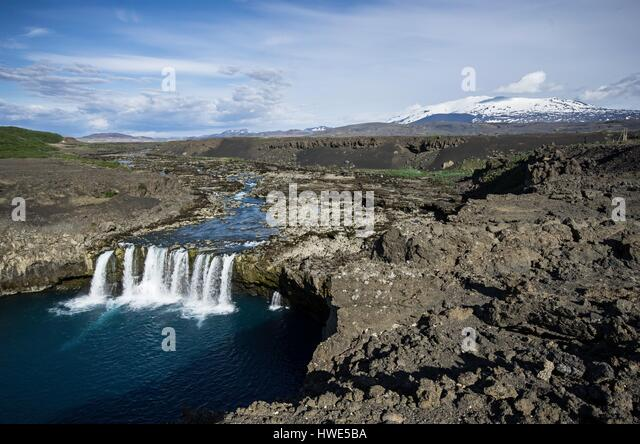 Waterfall, lake, rock, mountain, snow - Stock-Bilder