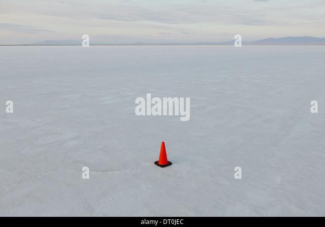 Bonneville Salt Flats Utah USA single traffic cone salt flats marker for vehicles - Stock Image