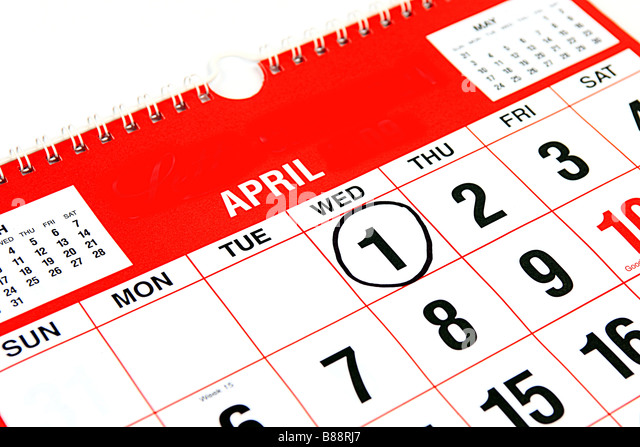 Calendar at the month of April with a black ring around the 1st April Fools Day - Stock-Bilder