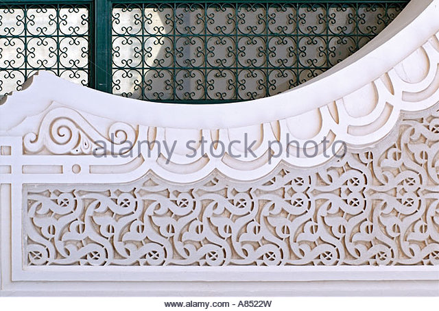 Detail image of Arabian decor at a mosque in Dakar Senegal - Stock Image