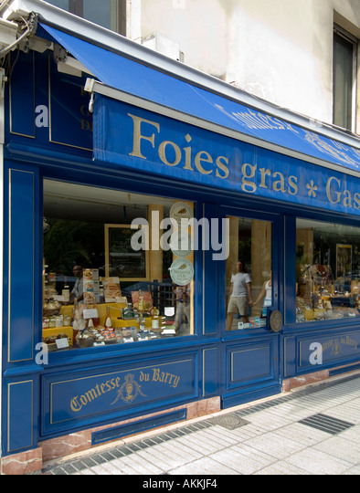 A shop advertising selling Pate de Foie gras in Nice on the Cote dAzur in the south of France - the French Riviera - Stock Image