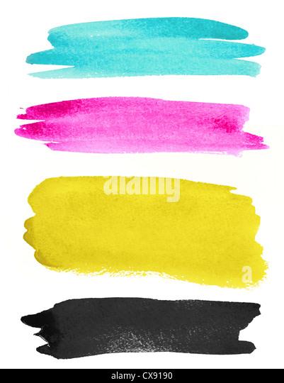 watercolor strokes on white paper - Stock-Bilder