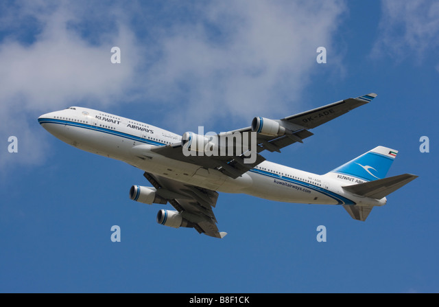 Kuwait Airways Boeing 747-469M departure at London Heathrow Airport, United Kingdom - Stock Image