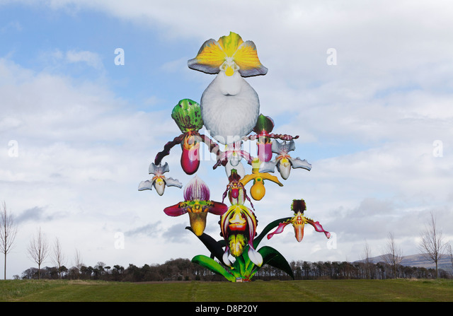 'Love Bomb', a  12-metre-high orchid sculpture by Marc Quinn at Jupiter Artland sculpture park near Edinburgh. - Stock Image
