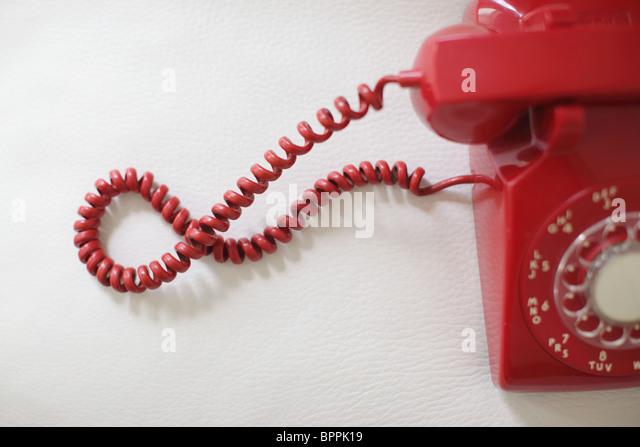 Red retro telephone - Stock-Bilder