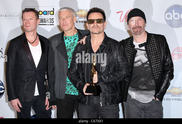 U2 in the press room for 2011 Billboard Music Awards- PRESS ROOM, MGM Grand Garden Arena, Las Vegas, NV May 22, - Stock Image