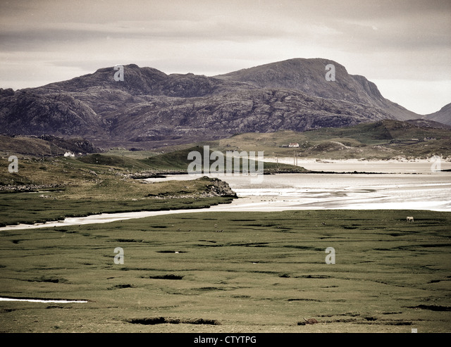 Salt marshes at Crowlista, Isle of Lewis, Scotland - Stock Image