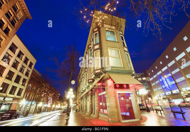 Water Street at night, Gastown, Vancouver, British Columbia, Canada, North America - Stock Image