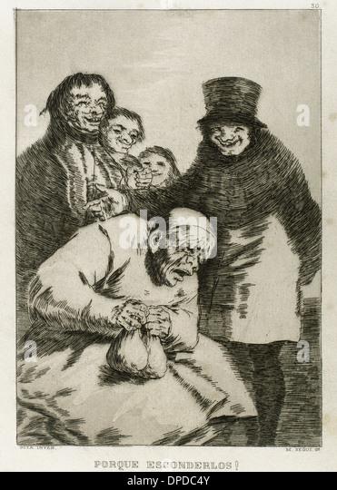 Goya (1746-1828). Spanish painter and printmaker. Los Caprichos. ¿Por que esconderlos? (Why hide them?) . Number - Stock Image
