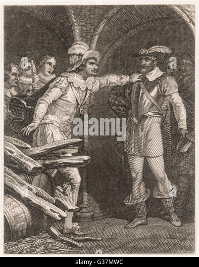 Guy Fawkes is discovered and  apprehended by Thomas Knevet         Date: 1605 - Stock Image