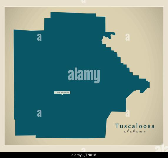 Modern Map - Tuscaloosa Alabama county USA illustration - Stock Image