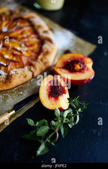 rustic peach pie - Stock Image