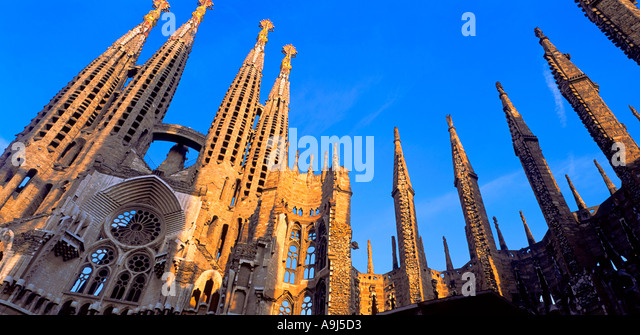 The Sagrada Familia by Antoni Gaudi in Barcelona, Spain - Stock Image
