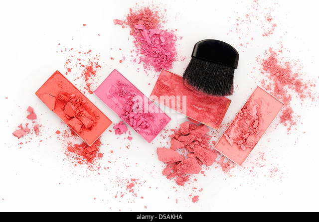 makeup brush and powder on white background - Stock Image