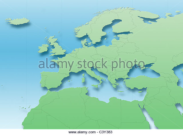 map, Western Europe, green, blue, political - Stock Image