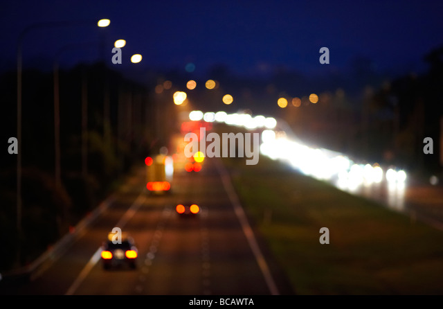 Night freeway traffic - Stock Image