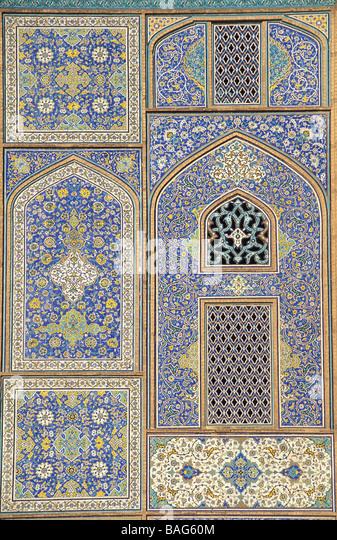 Iran, Isfahan Province, Esfahan, Imam square (Royal square), Sheikh Lotfollah mosque, detail - Stock Image