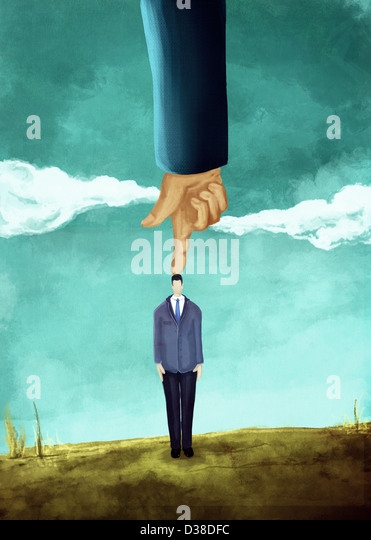 Illustrative image of hand pointing on businessman's head representing domination - Stock-Bilder