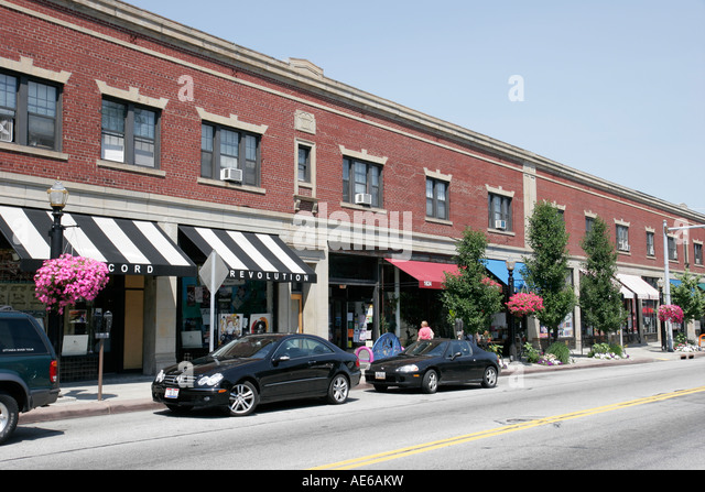 Cleveland Heights Ohio Coventry Village shopping stores - Stock Image
