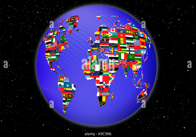 Internationa Flags On Globe - Stock-Bilder
