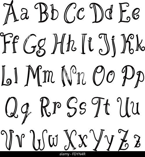 Hand Written Alphabet Vector Stock Photos & Hand Written Alphabet ...