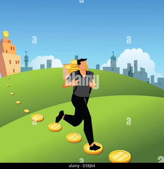 Man running with a bag of coins on his back - Stock Image