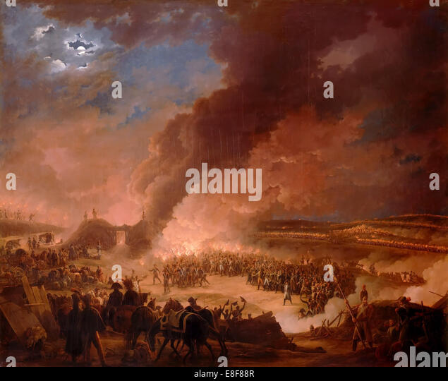 Napoléon I visiting the bivouacs of the army in the evening, the day before the Battle of Austerlitz Artist: - Stock Image